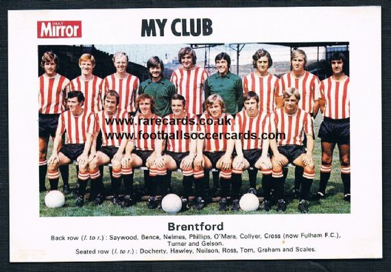 1970 My Club Daily Mirror postcard-size card Brentford